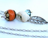 Seashell and Orange Crackle Bead Necklace with Embellishments OOAK