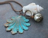 Brass Scalloped Verdigris Pendant Necklace with Goblet Shell and Pearl Dangles  OOAK