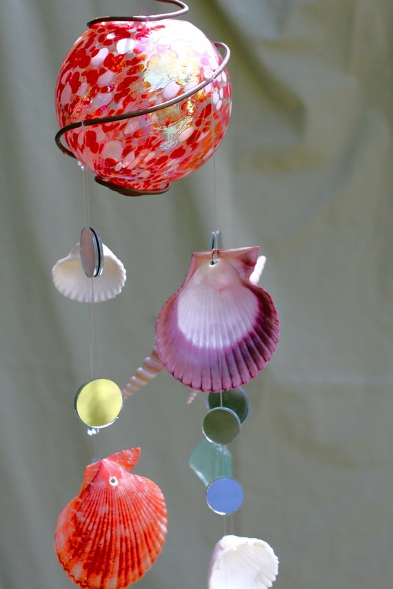 Red and White Speckled Glass Ball Seashell Windchime - OOAK