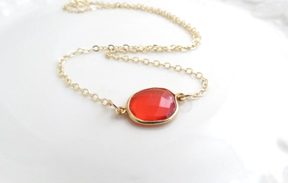 Orange Quartz Gold Necklace