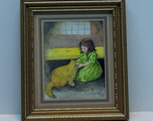 Original Girl with Cat Watercolor painting, one of a kind