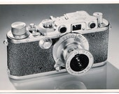 Vintage Leica Camera Photo, product shot, 1950s, black and white