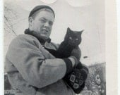 Man with Cat out in the Snow, Black and White, Vintage 1960s Photo