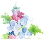Handpainted Greeting Card Hydrangeas Note Card Thank you Notes Blue Pink Watercolor Art Any occasion Women Teens Blank under 10
