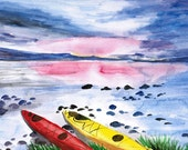 CIJ Canoes by the water watercolor original Red and yellow Art Painting