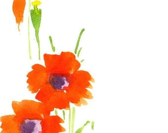 Handpainted Greeting Card Note Card Any occasion Blank Poppies Orange 6X4 Original Watercolor Gardening Botanicals