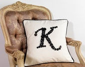 CUSTOM MADE Monogram Letter K Pillow Cushion Cover in BLACK metal mix buttons