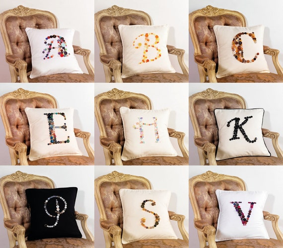BESPOKE CUSTOM MADE Monogram Letter Pillow Cushion Cover in choice of buttons, Shabby Chic. Perfect gift for a loved one