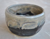 Faceted Stoneware Bowl in Black with Gray and Beige