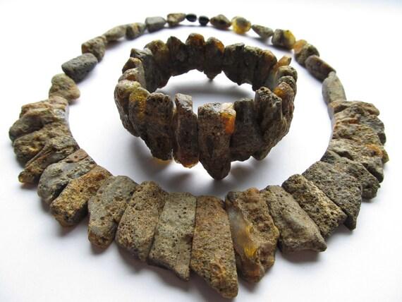 Raw Unpolished Black Baltic Amber Choker And Bracelet
