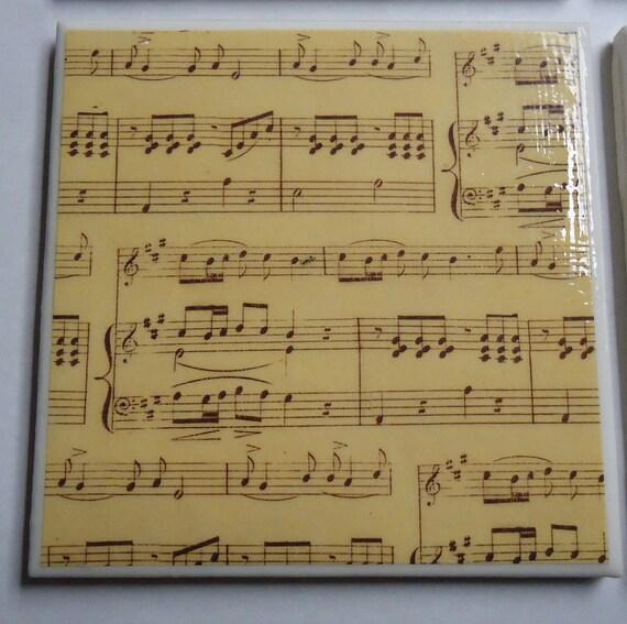 Vintage Looking Sheet Music Ceramic Tile Coasters Set of 4