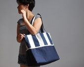 Sailor Tote Bag - Bold Navy and White Stripes Large Canvas Beach Bag - lilyshih