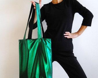 Metallic Green Tote Bag