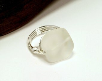White Bead Ring, Sea Glass Bead Ring, Frosted White Bead Ring, Silver Wire Ring, Wire Wrapped Ring, White Glass Ring, Summer Jewelry