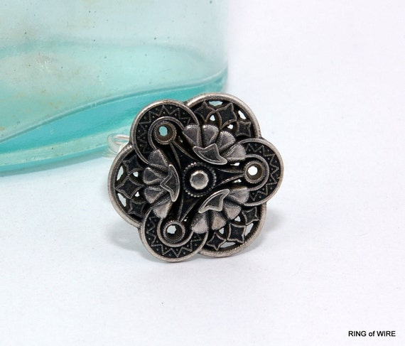 CLEARANCE Silver Button Ring, Antique Button Ring, Silver Wire Ring, Wire Wrapped Ring, Antique Silver Ring