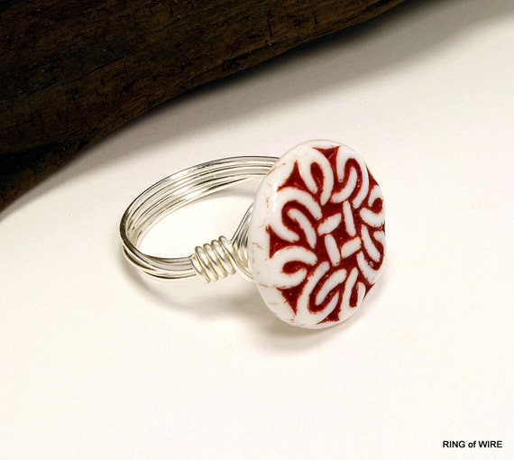 White Glass Button Ring, Glass Button Ring, Red Button Ring, Wire Wrapped Button Ring, Silve Wire Ring, Moroccan Style Ring