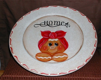 Gingerbread Handpainted Wood Plate on Pedastal-Cottage Chic. Housewarming Gift. Country Home. Ginger Lover.Home Decor. Ginger Kitchen.