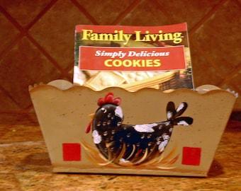 CHICKEN Roll or Bun basket Handpainted Black and white hen