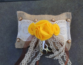 Beautiful Burlap Ring Pillow with bright Yellow flowers...Country Wedding...Woodland Wedding...Outdoor Wedding