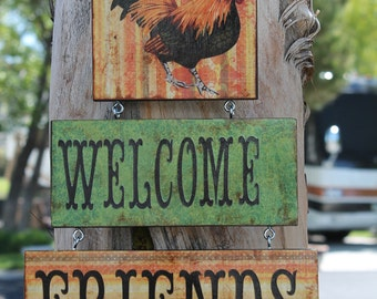 Rooster Lover Sign...Welcome Friends.. Door Sign..Wall Sign..Kitchen Decor  Country Kitchen Rooster Decor Housewarming Gift Rooster Lover