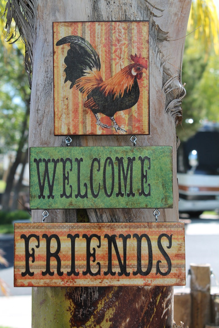 Rooster Lover Sign Welcome Friends Door By Craftsbyjoyice