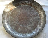 Reserved for Guidre from Lithuania Antique Turkish Copper Metal Plate Beautiful Carved Design and Patina