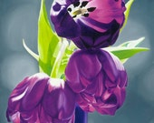 Purple Tulips III. - (Oil painting) Art print