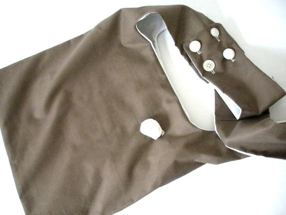 tote bag.  gifts 15 and under.    cross body bag.   brown and green polka dot bag.  brown purse.  brown bag.