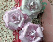 Flowers - Pretty In Pink Glitter Glass Flower Set Scrapbook Embellishment Card Tag Mini Album Layout