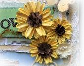 Daisy Flower Set - Vintage Yellow She Daisies Scrapbook Embellishment Card Tag Mini Album Layout