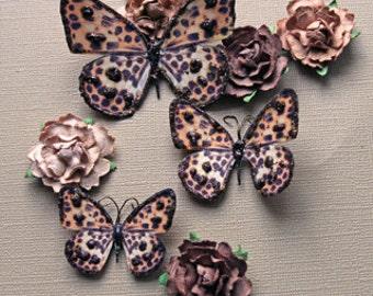 Reneabouquets Butterfly Set - Leopard Butterflies, Scrapbook Embellishment, Wedding, Home Decor, Party Decoration