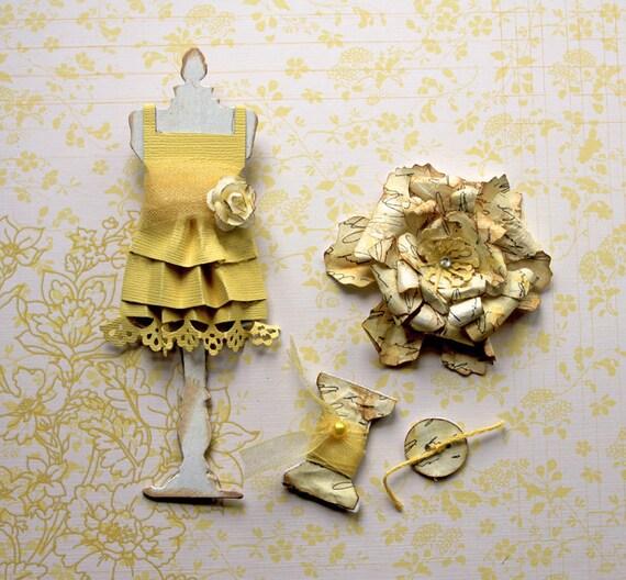 Last Set Clearance Tim Holtz Dress Form - You Are My Sunshine Dress Form and Vintage Flower Set Scrapbook Embellishment Card  Mini Album