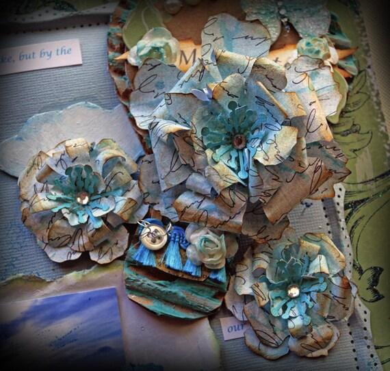Flowers - Vintage Teal Romance Flower Set Scrapbook Embellishment Card Tag Mini Album Layout