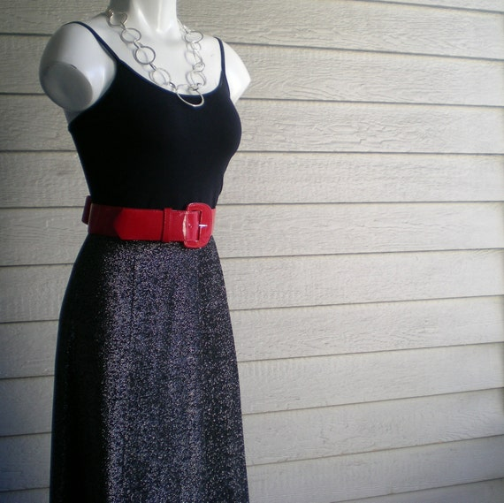RESERVED vintage 70s maxi skirt in black with glam silver shimmery sparkle high waist