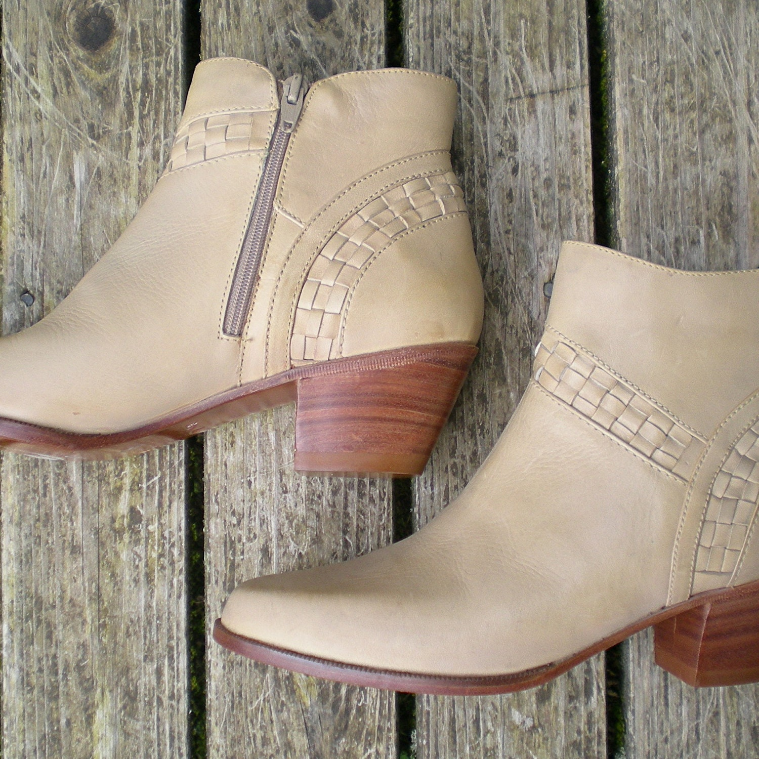 leather ankle boot with woven details cream tan brown by battyfang