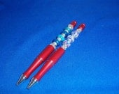 OOAK! Red Pens, Blue Foil Euro Beads, or Black & White Lampwork Beads! Beaded Pens, Journalists, Writers, Unisex Gifts, Valentine's Gifts