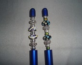 Pens! Blue, Glass Beaded, Pens! Unique Gifts, Writer Gift, Grad Gift, Retirement Gift, Birthday Gift, Unisex Gifts, Wedding Book Pens