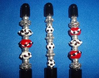 Pens! Black, Glass Beaded Pens, or, Soccer Pen! Unisex Gift, Writer Gift, Retirement Gift, Grad Gift, Holiday Gift, Wedding Book Pens