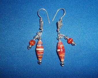 Paper Bead Earrings! Orange Paper Bead, Cats Eye Bead, Sterling Silver, Earrings! Women's Aide, Birthday Gift, Christmas Gift, Gift for Her