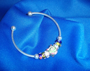 Cuff Bracelet! Colorful, Lampwork Glass, Beaded, Silver, Cuff Bracelet! OOAK! Adjustable Bracelet, Birthday Gift, Holiday Gift
