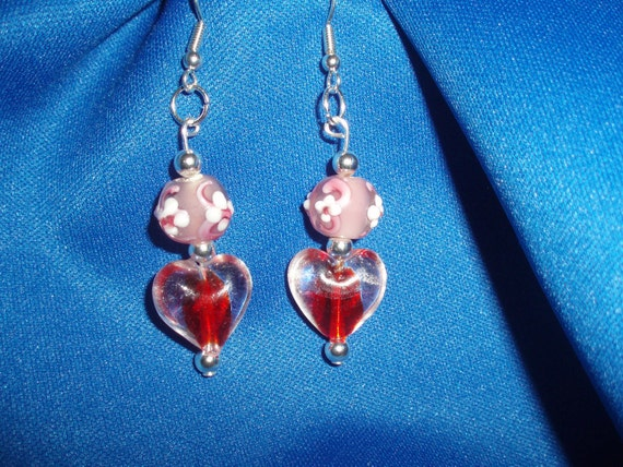 Heart Earrings! Red Glass Heart, & Pink Lampwork Bead, Dangle Earrings! OOAK! Valentine Gift, Birthday Gift, Anniversary Gift, Holiday Gift