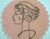 Pink Embroidered Cocktail Napkin, Coaster, Doily - Ladies Who Like Liquor - Ava