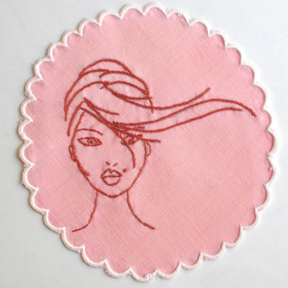 Pink Embroidered Cocktail Napkin, Coaster, Doily - Ladies Who Like Liquor - Fawn