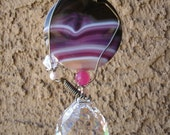 Agate gemstone wire wrap crystal prism suncatcher with 30mm crystal prism faceted ball, free shipping S4