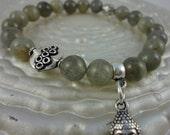 Calming Labradorite bracelet, Buddha charm, Yoga Bracelet, Reiki Charged, free shipping