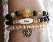 Set of 3 Yoga bracelets, Om, Relax bead, Swarovski pave bead & Genuine ebony beads. Meditation, Reiki Charged, free shipping