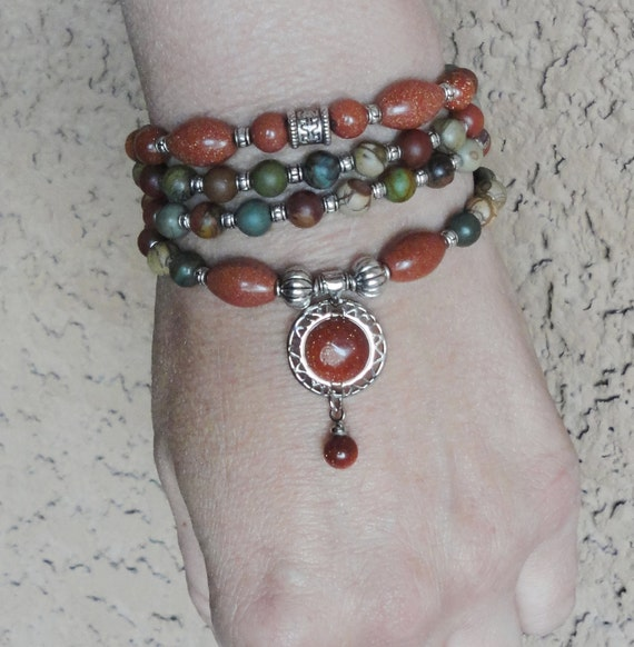 Wholeness Picasso Jasper & Goldstone wrap Yoga bracelet or Necklace, Reiki Charged, free shipping