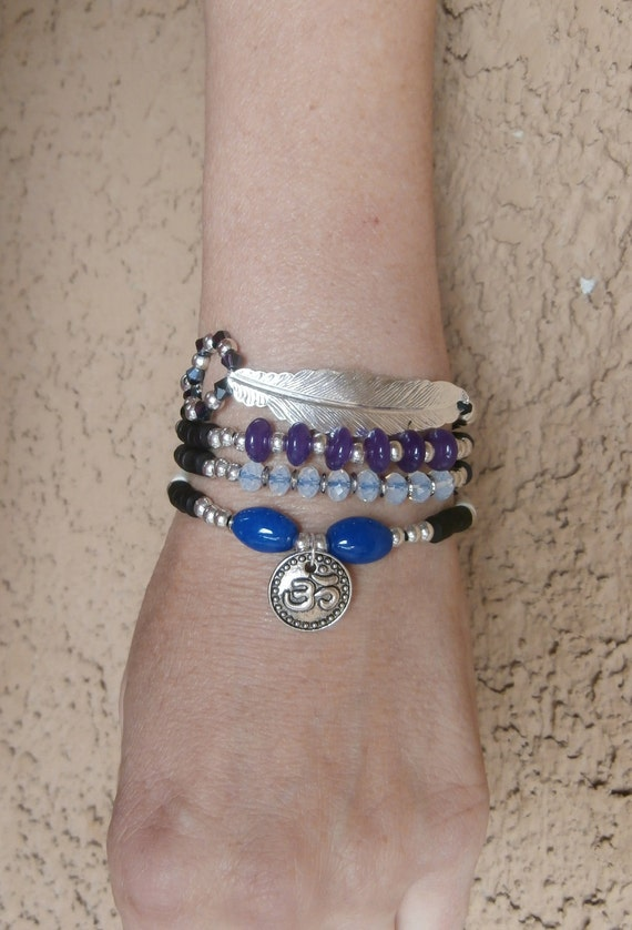 Protection and Luck Feather wrap Yoga bracelet with Om, Amethyst, Reiki Charged, free shipping