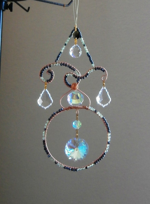 Large Crystal Suncatcher with large crystals, multi Prims suncatcher, Feng Shui cures, rainbow maker, window ornament, free shipping