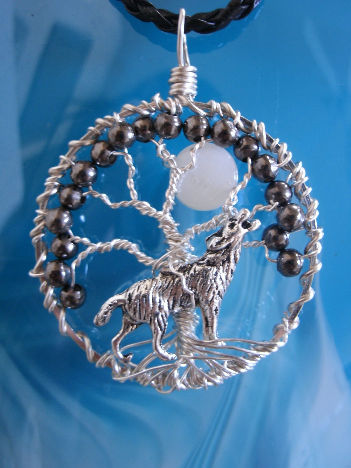 Tree Of Life Full Moon Wire Wrapped Pendant Necklace With